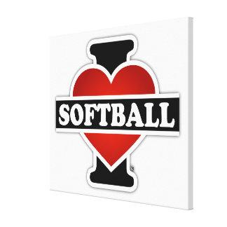 Amo softball impresión de lienzo