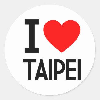 Amo Taipei Pegatina Redonda