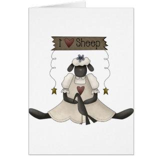 Amo tarjetas de nota de las ovejas