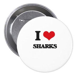Amo tiburones chapa redonda 7 cm