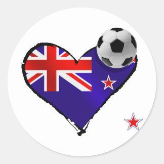 Amo todo el fútbol de bandera de Nueva Zelanda de  Etiquetas Redondas