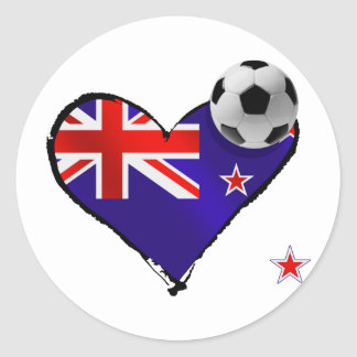 Amo todo el fútbol de bandera de Nueva Zelanda de  Pegatinas Redondas