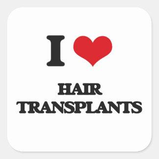 Amo trasplantes del pelo pegatina cuadrada