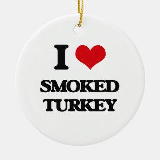 Amo Turquía ahumada Adorno Redondo De Cerámica