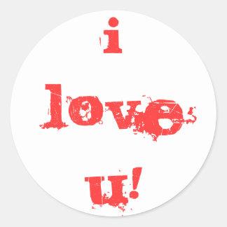 ¡Amo u! Pegatina Redonda