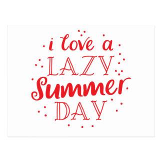 amo un día de verano perezoso postal