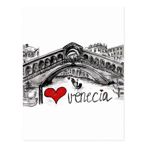 Amo Venecia Tarjeta Postal