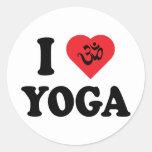Amo yoga etiquetas redondas