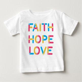 amor de la esperanza de la fe camiseta de beb