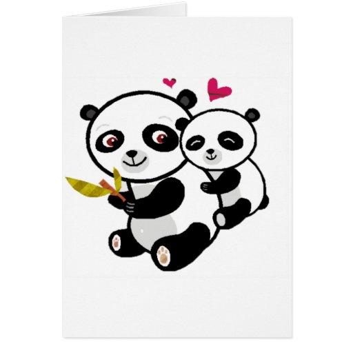 Amor <3 de la panda tarjetón