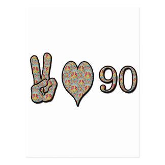 Amor 90 de la paz tarjeta postal