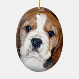 Amor adolescente del beagle adorno navideño ovalado de cerámica