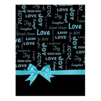 Amor, alegría, risa, risa, buenas palabras de la postal