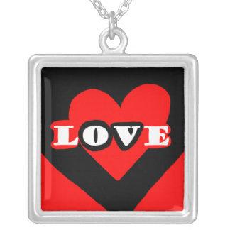 Amor, amor, amor colgante cuadrado