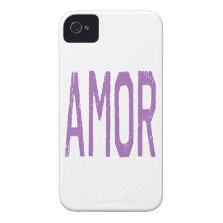 AMOR (amor en español) en púrpura iPhone 4 Case-Mate Fundas