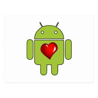 Amor androide (verde) postal