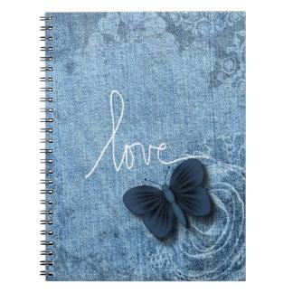 Amor azul de la mariposa del dril de algodón libretas espirales