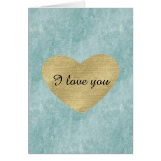 Amor azul del corazón del oro de la dicha tarjeta de felicitación
