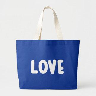 Amor azul y blanco - boda, ducha nupcial bolso de tela grande