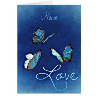 Amor azul y mariposas tarjeta