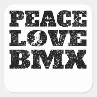 Amor BMX de la paz (apenado) Pegatina Cuadrada
