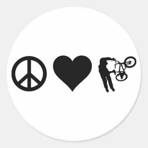 Amor BMX de la paz Etiquetas Redondas