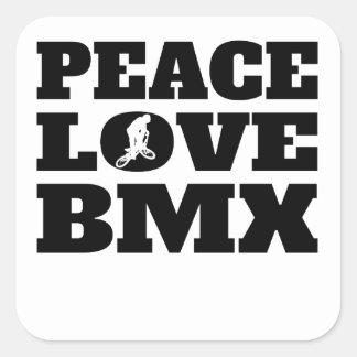 Amor BMX de la paz Pegatina Cuadrada