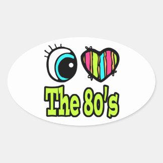 Amor brillante del corazón I del ojo los años 80 Pegatina Ovalada