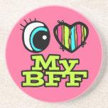Amor brillante del corazón I del ojo mi BFF Posavasos Cerveza
