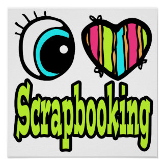 Amor brillante Scrapbooking del corazón I del ojo Posters