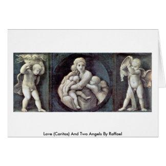 Amor (Caritas) y dos ángeles de Raffael Tarjetas