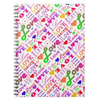 Amor colorido, amor, amor, amor, amor, amor, amor cuaderno