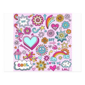 amor colorido de la paz del Hippie de los años 60 Postales