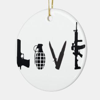 Amor con las armas adorno navideño redondo de cerámica