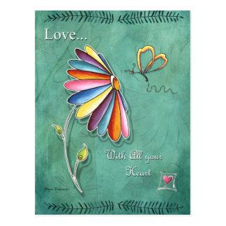 Amor con toda su postal del corazón