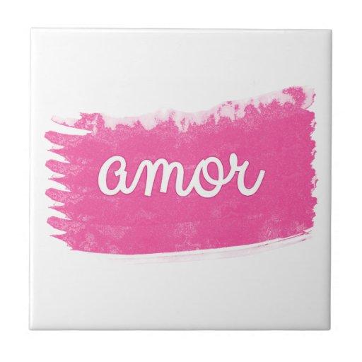 Amor con un golpe fuerte del rosa azulejo cerámica