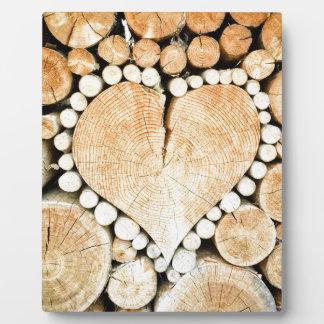Amor, corazón, romance, mosaico de madera placa expositora