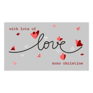 Amor, corazones y etiqueta única del regalo de la  tarjetas de visita