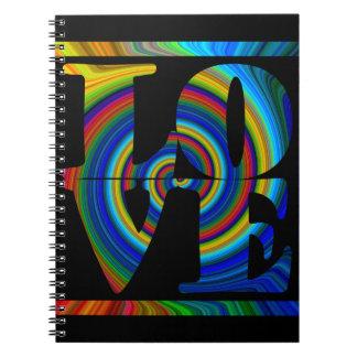 amor cuadrado espiral enmarcado colorburst cuaderno