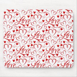 Amor cursivo y el día de San Valentín rojo de los Alfombrilla De Ratón