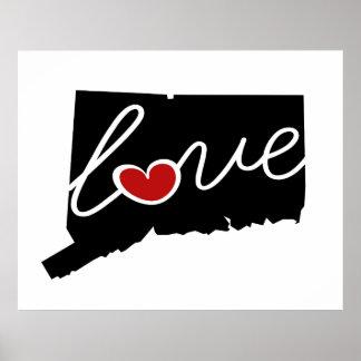 ¡Amor de Connecticut!  Regalos para los amantes Poster