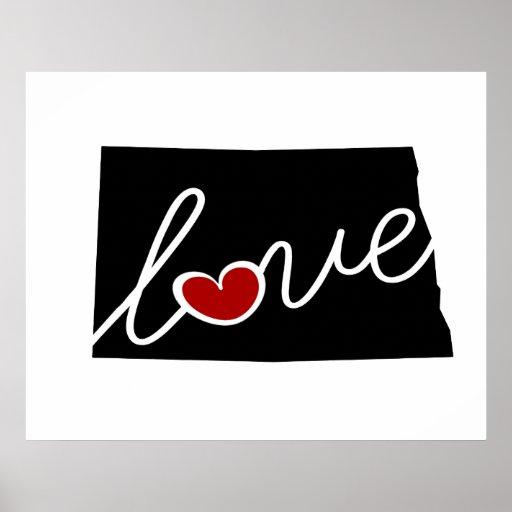 ¡Amor de Dakota del Norte!  Regalos para los Impresiones