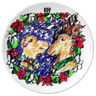 amor de dos ciervos plato de porcelana