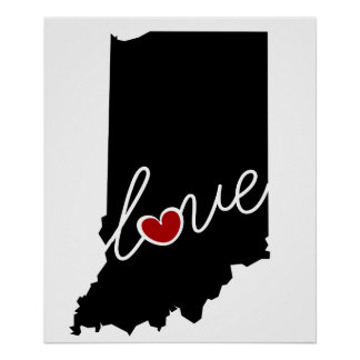 ¡Amor de Indiana!  Regalos para EN los amantes Posters