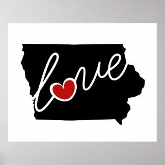 ¡Amor de Iowa!  Regalos para los amantes de IA Posters