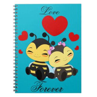 Amor de la abeja de la miel - cuaderno de la foto