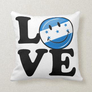 Amor de la bandera sonriente de Honduras Cojín