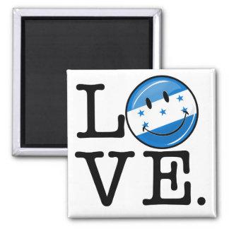 Amor de la bandera sonriente de Honduras Imán Cuadrado