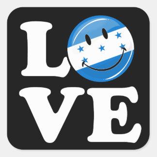 Amor de la bandera sonriente de Honduras Pegatina Cuadrada