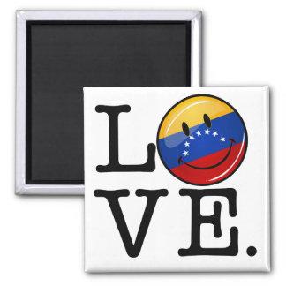 Amor de la bandera sonriente de Venezuela Imán Cuadrado